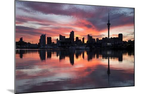 Sky Tower and City at Dawn from Westhaven Marina, Auckland, North Island, New Zealand, Pacific-Stuart-Mounted Photographic Print