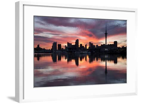 Sky Tower and City at Dawn from Westhaven Marina, Auckland, North Island, New Zealand, Pacific-Stuart-Framed Art Print