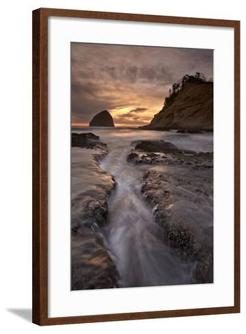Haystack Rock at Sunset, Pacific City, Oregon, United States of America, North America-James-Framed Art Print