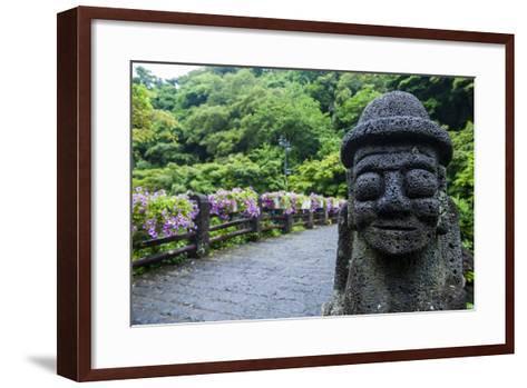 Basalt Statue in Seogwipo, Island of Jejudo, UNESCO World Heritage Site, South Korea, Asia-Michael-Framed Art Print