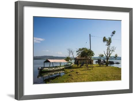 Tourist Boat Anchoring on a Little Island at the Source of the Nile-Michael-Framed Art Print