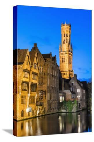 Belfry at Twilight, Historic Center of Bruges, UNESCO World Heritage Site, Belgium, Europe-G&M-Stretched Canvas Print
