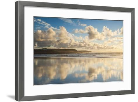 Cloud Reflections at Constantine Bay at Sunset, Cornwall, England, United Kingdom, Europe-Matthew-Framed Art Print