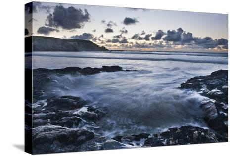 Rocky Coast at Treyarnon Bay at Sunset, Cornwall, England, United Kingdom, Europe-Matthew-Stretched Canvas Print