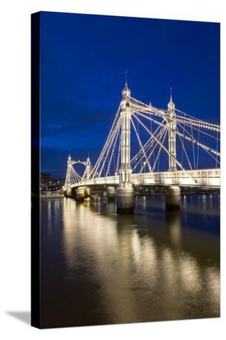 Albert Bridge and River Thames at Night, Chelsea, London, England, United Kingdom, Europe-Stuart-Stretched Canvas Print