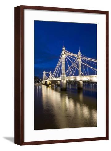 Albert Bridge and River Thames at Night, Chelsea, London, England, United Kingdom, Europe-Stuart-Framed Art Print