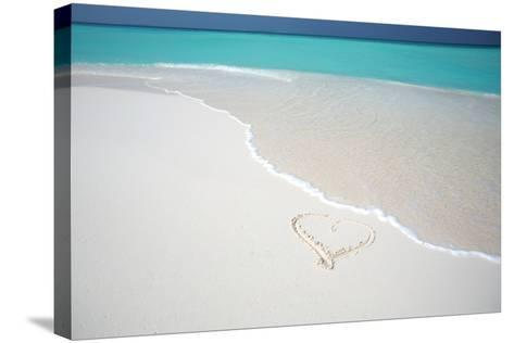 Heart Drawn on an Empty Tropical Beach, Maldives, Indian Ocean, Asia-Sakis-Stretched Canvas Print