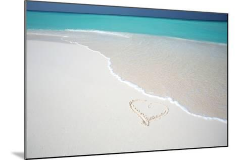 Heart Drawn on an Empty Tropical Beach, Maldives, Indian Ocean, Asia-Sakis-Mounted Photographic Print