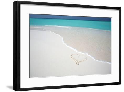 Heart Drawn on an Empty Tropical Beach, Maldives, Indian Ocean, Asia-Sakis-Framed Art Print