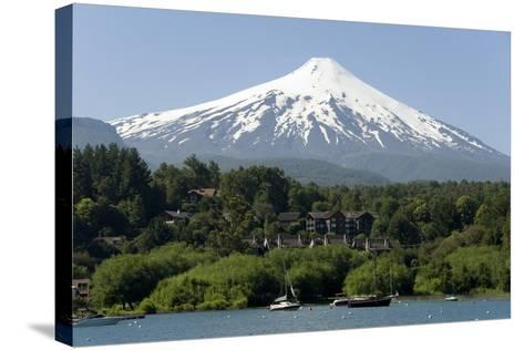 Volcan Villarrica and Lao Villarrica at Pucon, Lakes District, Southern Chile, South America-Tony-Stretched Canvas Print