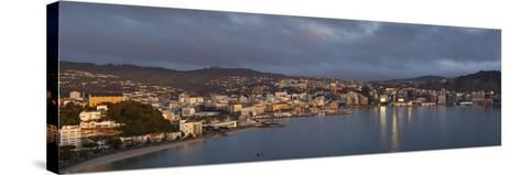 Panorama of Wellington City and Harbour-Nick Servian-Stretched Canvas Print