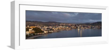 Panorama of Wellington City and Harbour-Nick Servian-Framed Art Print