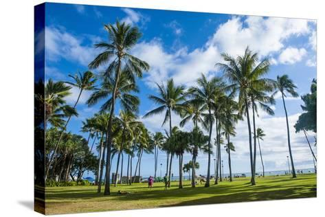 Waikiki Beach, Oahau, Hawaii, United States of America, Pacific-Michael-Stretched Canvas Print