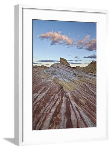 Red and White Sandstone Stripes at Sunrise-James-Framed Art Print