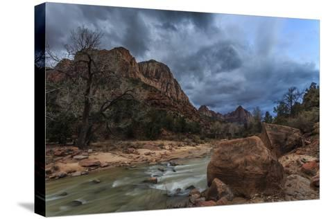 Dusk Beside the Virgin River under a Threatening Sky in Winter-Eleanor-Stretched Canvas Print
