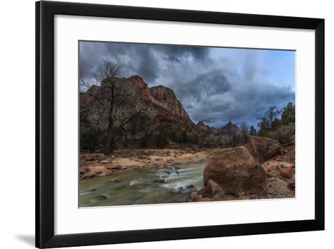 Dusk Beside the Virgin River under a Threatening Sky in Winter-Eleanor-Framed Art Print
