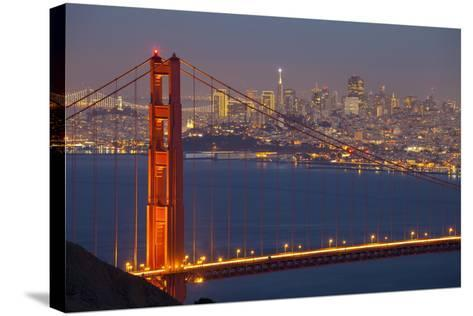 The Golden Gate Bridge and San Francisco Skyline at Night-Miles-Stretched Canvas Print