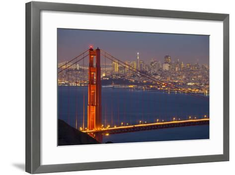 The Golden Gate Bridge and San Francisco Skyline at Night-Miles-Framed Art Print