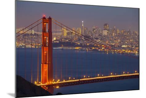 The Golden Gate Bridge and San Francisco Skyline at Night-Miles-Mounted Photographic Print