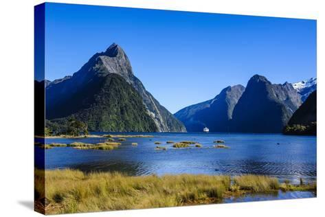 Cruise Ship Passing Through Milford Sound-Michael-Stretched Canvas Print