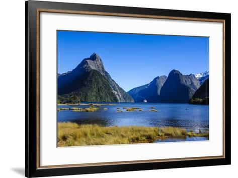 Cruise Ship Passing Through Milford Sound-Michael-Framed Art Print