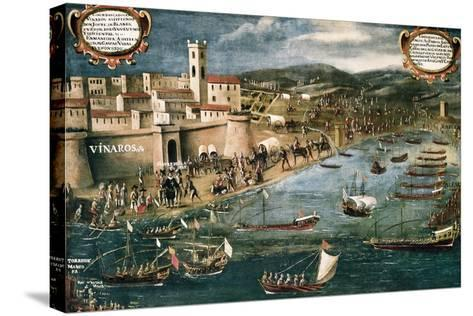 Embarkation of Moriscos in the Harbor of Vinaroz, Spain-Pere Oromig and Francisco Peralta-Stretched Canvas Print