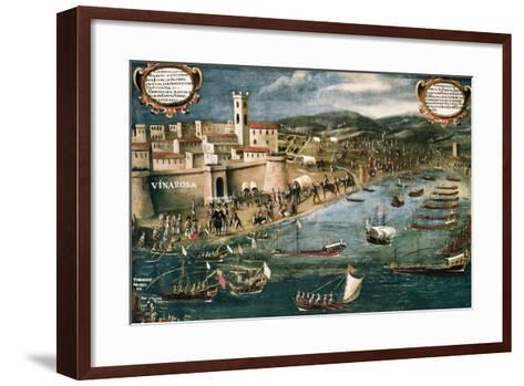 Embarkation of Moriscos in the Harbor of Vinaroz, Spain-Pere Oromig and Francisco Peralta-Framed Art Print