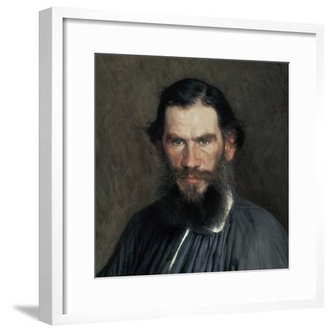 Leon Tolstoy-Ivan Nikolaevic Kramskol-Framed Art Print