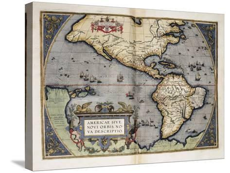 Map of America-Abraham Ortelius-Stretched Canvas Print