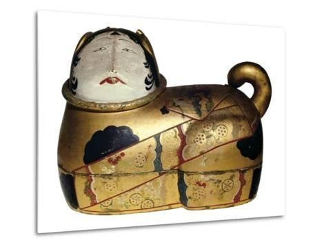 Japanese Cat Shaped Container for Newborn's Clothing and Talisman Against Evil Spirits--Metal Print