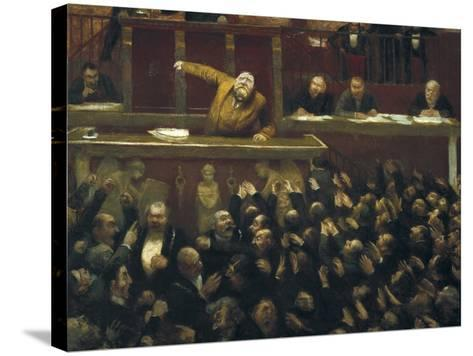 Jean Jaures Speaking in the Chamber of Deputies-Jean Veber-Stretched Canvas Print