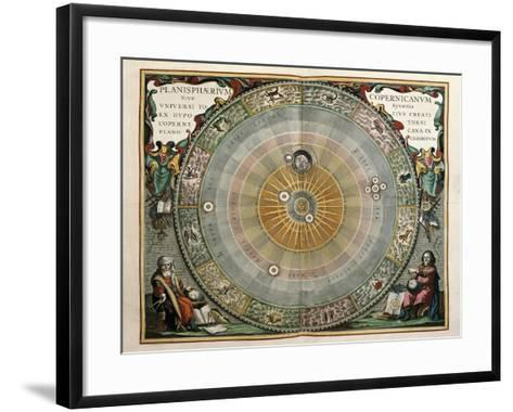 Universe on the Model of Copernicus with Sun in Center-Andreas Cellarius-Framed Art Print