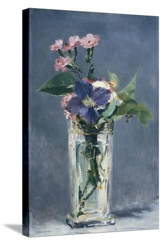 Clematis in a Crystal Vase-Edouard Manet-Stretched Canvas Print