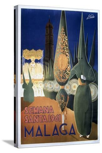 Travel Poster of the Holy Week in Malaga (1961)--Stretched Canvas Print
