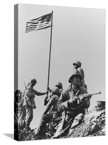The First Flag Raising on Iwo Jima's Mount Suribachi--Stretched Canvas Print