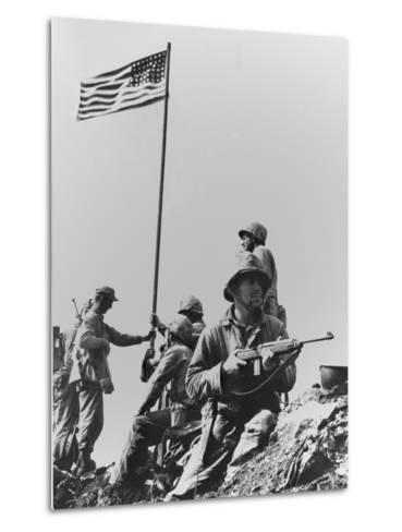 The First Flag Raising on Iwo Jima's Mount Suribachi--Metal Print