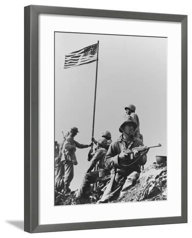 The First Flag Raising on Iwo Jima's Mount Suribachi--Framed Art Print