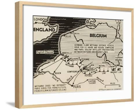Map of German World War 2 Invasion and Allied Resistance in Early June 1940--Framed Art Print