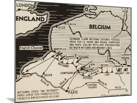 Map of German World War 2 Invasion and Allied Resistance in Early June 1940--Mounted Art Print