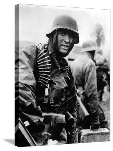 Heavily Armed German Soldiers Advancing in Belgium Through Thin American Lines--Stretched Canvas Print