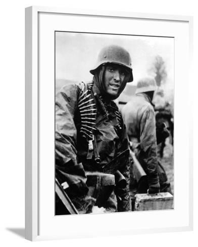 Heavily Armed German Soldiers Advancing in Belgium Through Thin American Lines--Framed Art Print