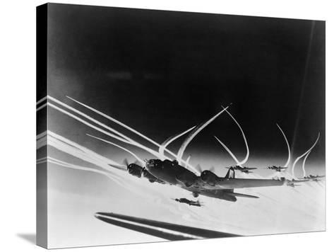 Sub-Stratospheric Vapor Trails of B-17 Flying Fortresses of the U.S. Army 8th Air Force--Stretched Canvas Print