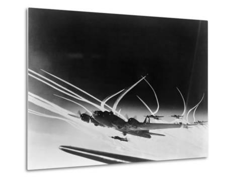 Sub-Stratospheric Vapor Trails of B-17 Flying Fortresses of the U.S. Army 8th Air Force--Metal Print
