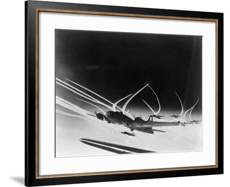 Sub-Stratospheric Vapor Trails of B-17 Flying Fortresses of the U.S. Army 8th Air Force--Framed Art Print