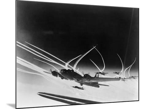 Sub-Stratospheric Vapor Trails of B-17 Flying Fortresses of the U.S. Army 8th Air Force--Mounted Photo