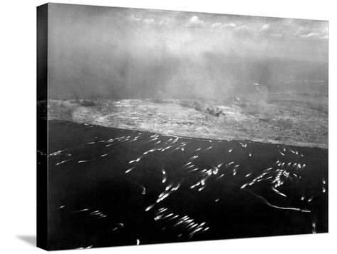 Aerial View of the First Wave of Landing Craft Invading Iwo Jima--Stretched Canvas Print