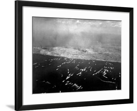 Aerial View of the First Wave of Landing Craft Invading Iwo Jima--Framed Art Print