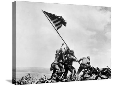 The Second Flag Raising on Iwo Jima on Feb. 23, 1945--Stretched Canvas Print