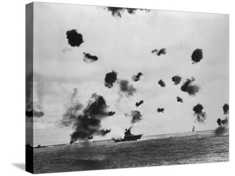 American Aircraft Carrier USS Yorktown Hit by a Japanese Bomb in the Battle of Midway--Stretched Canvas Print
