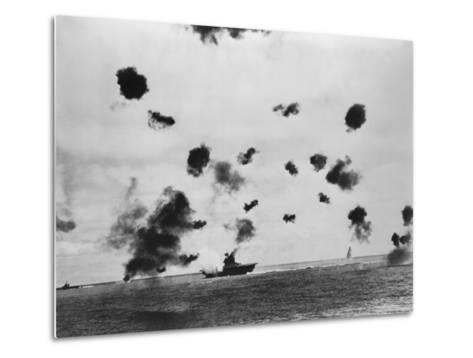 American Aircraft Carrier USS Yorktown Hit by a Japanese Bomb in the Battle of Midway--Metal Print